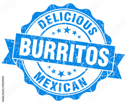 Delicious burritos blue vintage seal isolated on white