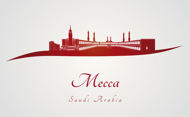 Mecca skyline in red