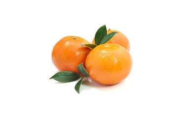 three tangerines isolated on white background