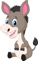 Cute baby donkey cartoon