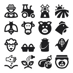 Farming flat icons. Black