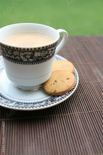Morning tea outdoor with biscuits