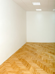 Home or office renovation, varnished oak parquet floor in room