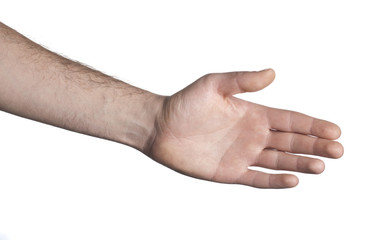 Empty open hand on white background