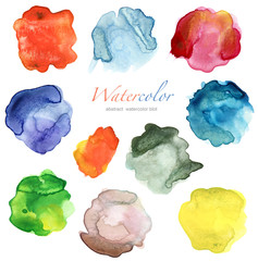 set of abstract color watercolor blot