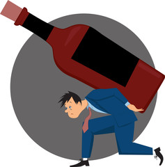 Alcoholic carrying a bottle