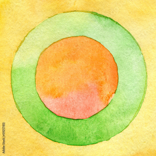 Canvas Geschilderde Achtergrond Abstract circle watercolor painting