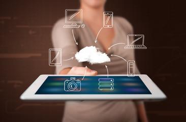 Woman showing hand drawn cloud computing