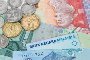 Malaysian money ringgit banknote and coins close-up