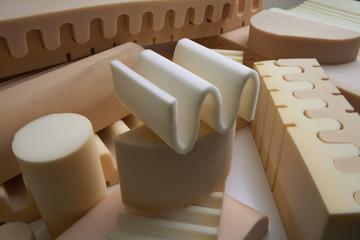 Italy, foam rubber shapes in a foam rubber factory