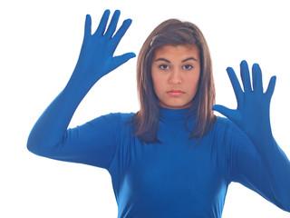 mädchen im blauem anzug
