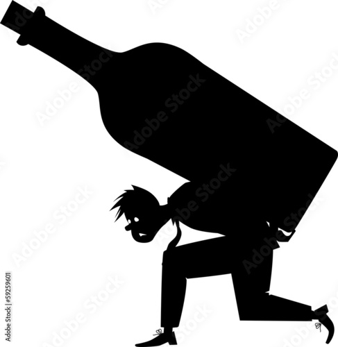 Silhouette of an alcoholic carrying a giant bottle