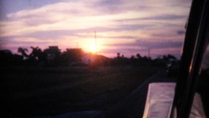 Florida Sunset From Moving Car-1961 Vintage 8mm film