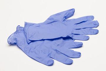Blue latex gloves, horizontal