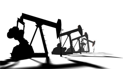 Pumpjack on white background. 3d animation