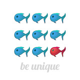 Be unique concept, blue and red fish