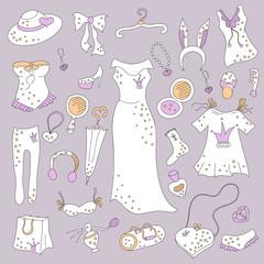 Stylish hand drawn set of women fashion items