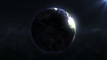 Animation of Earth rotation with Sun. Full HD Looped Video Clip