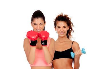 Couple of girls playing sports in gym