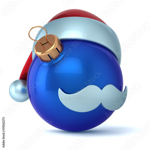 Christmas ball Santa Claus hat New Years Eve ornament blue