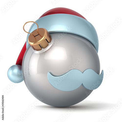 Christmas ball Santa Claus hat New Years Eve bauble silver