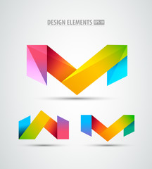 Vector origami icons. Logo design elements. Abstract icons