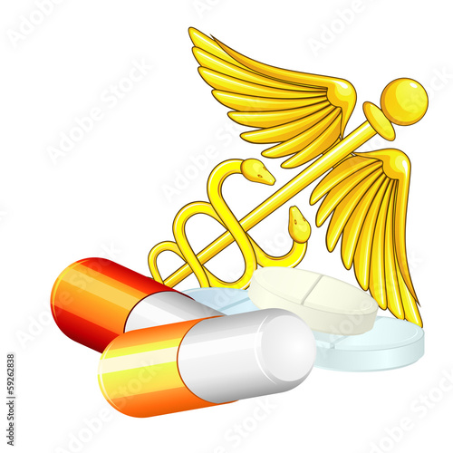 Caduceus and pills