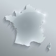 France map glass card paper 3D vector