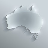 Australia map glass card paper 3D vector flag
