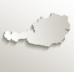 Austria map card paper 3D natural vector