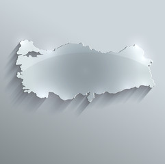 Turkey map glass card paper 3D vector flag