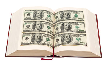 Book with dollar pages
