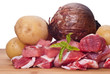 Raw beef, potatoes and onion