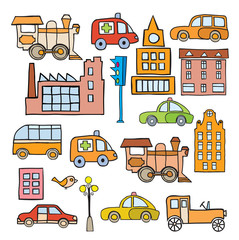 The stylized image of transport in the style of cartoon