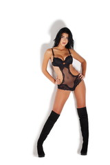 beautiful sexy woman in black lingerie