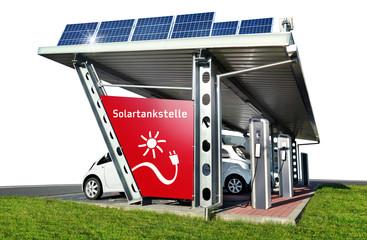 Solartankstelle Elektroauto Stromtankstelle freigestellt