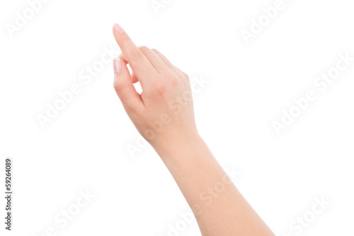 Woman hand touching or pointing to something