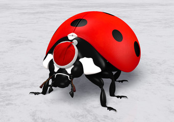 Ladybird with Santa Claus red hat