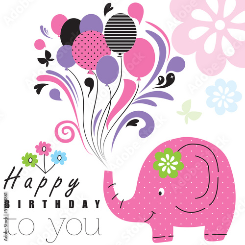 Happy birthday elephant vector