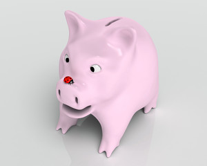 Surprised piggy bank with ladybug