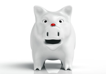 Surprised white piggy bank
