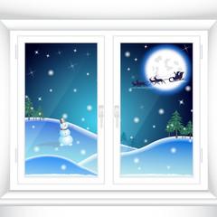 Christmas behind a window