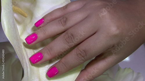 Woman fingernails anf flower