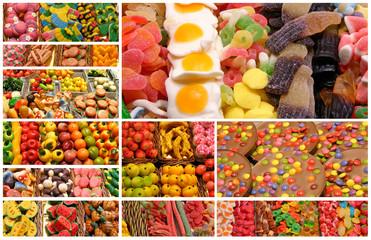Collage de golosinas y dulces de pastelería