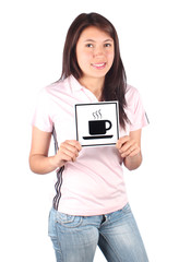 Girl with coffee sign
