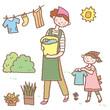 庭で洗濯をする親子