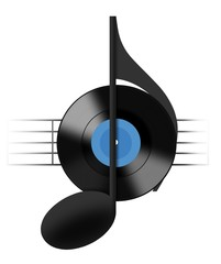 Vinyl Record and Music Note