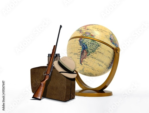Hunting Trip Equipment and Vintage Globe