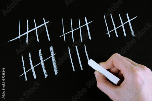 Counting days by drawing sticks on black background