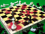 Chess board with blood stains